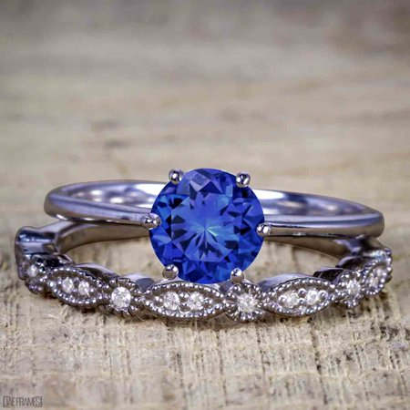 Artdeco 1.25 Carat Round cut Real Sapphire and Cubic Wedding Bridal Ring Set in Silver with Black Gold (Round Cut Natural Sapphire)