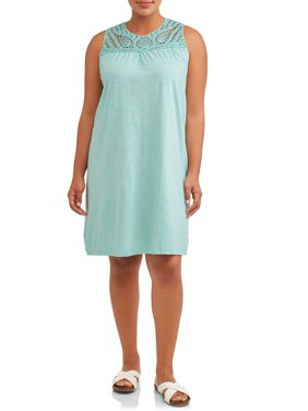 Women's Plus Size Sleeveless A-Line Crochet Trimmed Dress