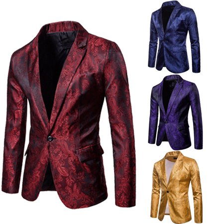 Stylish Men's Casual Slim Fit Formal One Button Suit Blazer Coat Jacket (Button Cotton Men Suit)