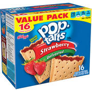 (2 pack) Kellogg's Pop-Tarts Breakfast Toaster Pastries, Unfrosted Strawberry Flavored, Value Pack, 29.3 oz 16 Ct