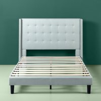 Zinus Upholstered Grand Wingback Platform Bed with Nailhead Detail, Sage Grey, Multiple Sizes