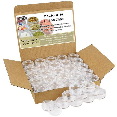 Estilo High Quality Clear Plastic Jars, Cosmetic Containers with Lids 5 Gram - 50 Count - Plastic Apothecary Jars