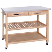 Zeny Rolling Kitchen Island Utility Serving Cart W Stainless Steel Countertop Ious Drawers