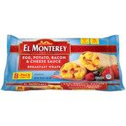 El Monterey Egg, Potato, Bacon & Cheese Sauce Breakfast Wraps (8CT)