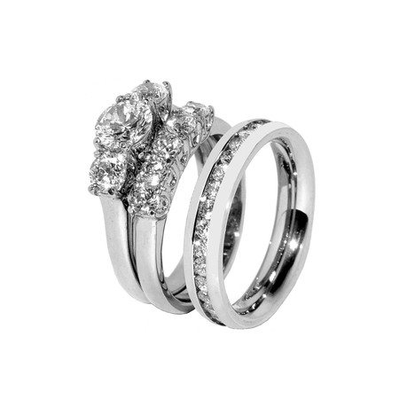 His Hers 3 PCS Stainless Steel 3 Stone Wedding Ring Set Mens CZ All Around Band- Size W5M7 3 Stone Wedding Band