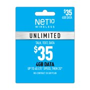 Net10 $35 Unlimited 30 Day Plan (4GB of data at high speed, then 2G*) (Email Delivery)