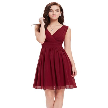 Ever Pretty Double V-Neck Ruched Waist Short Cocktail Party Dress Knee Length Bridesmaid Dress 03989