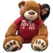 9146cfdac72 Big Plush 5 Foot Giant Teddy Bear 60 Inch Soft Brown Wears HE LOVES ME T