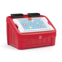 Step2 Durable Organizer Toddler and Preschooler 2 in 1 Toy Box and Art Lid, Red