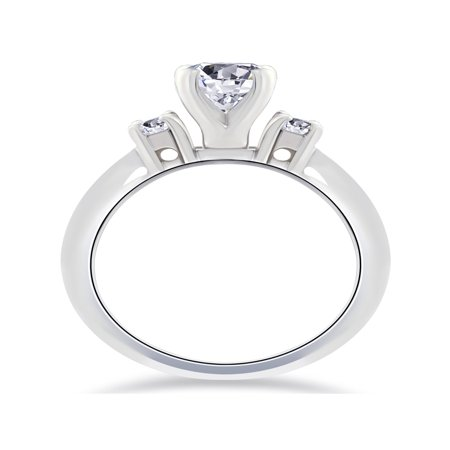 F SI 2 1/4 Ct Round  Diamond Engagement Ring 14K White Gold - image 3 of 4