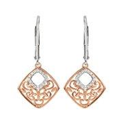 9691578d6 Diamond Ornate Rhombus Earrings, 14K Rose Gold Plate & Sterling Silver