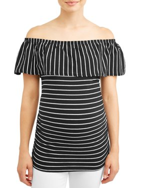 Maternity Stripe Off the Shoulder Knit Top - Available in Plus Sizes