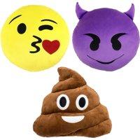 Emoji Expressions 3-Piece Emoji Pillow Set
