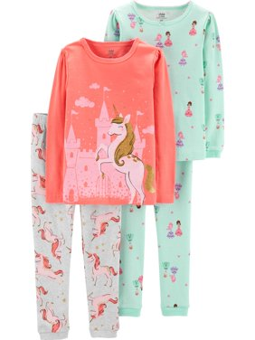 Long Sleeve T-Shirt and Pant Cotton Pajama Bundle, 2 sets (Baby Girls)