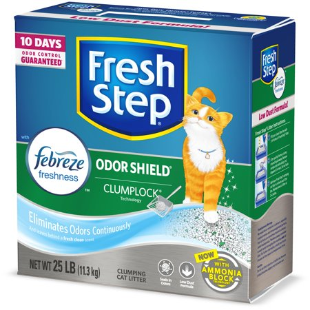 Fresh Step Odor Shield Scented Litter with the Power of Febreze, Clumping Cat Litter, 25 lbs (Glad Odor Shield)