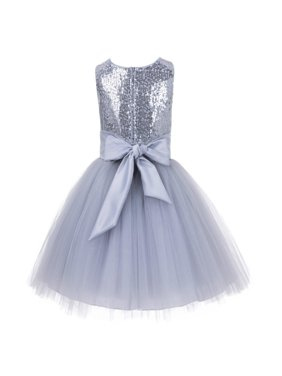 Ekidsbridal Formal Sparkling Sequins Tulle Flower Girl Dress Bridesmaid Wedding Pageant Toddler Easter Holiday Spring Summer Recital Communion Birthday Baptism Ceremony Special Occasions 124