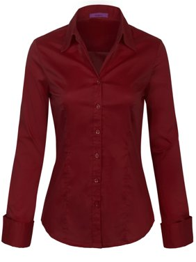 KOGMO Womens Basic Long Sleeve Button Down Shirts Office Work Blouse (S-3X)