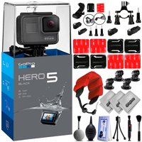 GoPro HERO5 Black 4K 12MP Digital Camcorder w/ 30PC Sports Action Bundle (4PC Curved Adhesive Mount Kit, Tripod Mount Adapter, Handlebar Mount, Foam Floating Hand Strap & More)