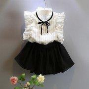 231935181 2pcs Toddler Kids Baby Girls Outfits T Shirt Tops+Shorts Skirt Dress  Clothes Set 2