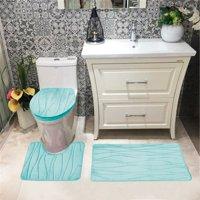 Connie Embossed Foam Plush 3pc Microfiber Bathroom Rug Set, Bath Mat, Contour Rug, Universal Lid Cover, Great Absobent With Anti Slip PVC Mesh Backing, Aqua