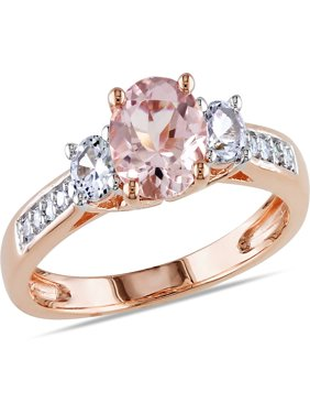1-1/7 Carat T.G.W. Morganite, Created White Sapphire and Diamond-Accent 10kt Rose Gold Three Stone Ring