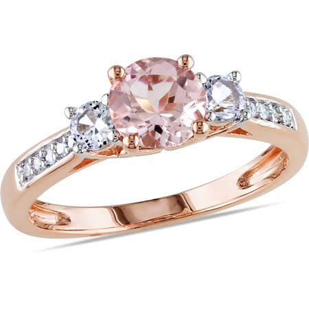 1-1/7 Carat T.G.W. Morganite, Created White Sapphire and Diamond-Accent 10kt Rose Gold Three Stone Ring (Padded 3 Ring)