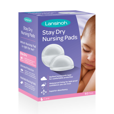 Lansinoh Disposable Stay Dry Nursing Pads, 60 Count (Cotton Breast Pads)