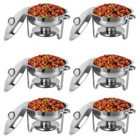 Zimtown 6 Packs of Full Size Upgraded 5-Qt Stainless Steel Chafing Dishes Buffet, Rectangular Catering Warmer Set for Kitchen Party Banquet Dining Food