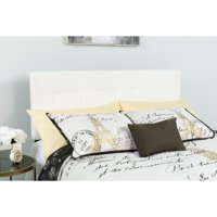 Flash Furniture Bedford Tufted Upholstered King Size Headboard in White Fabric