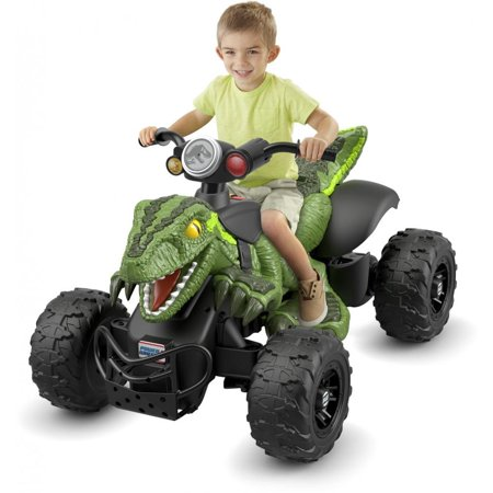Power Wheels Jurassic World Dino Racer, Green Ride-On ATV for - Utility Quad