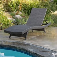 Anthony Outdoor Wicker Chaise Lounge Chair, Grey