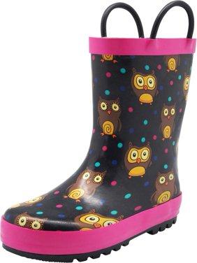 Norty Big Kids Boys Girls Waterproof Rubber Printed Rain Boots - 13 Patterns, 40145 Black Owls / 11MUSLittleKid