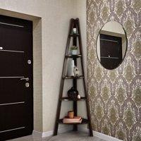 5-Shelf Corner Ladder Bookcase-Espresso