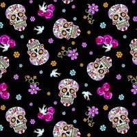 "David Textiles Day Of The Dead With Glitter 44"" Cotton Fabric By The Yard"