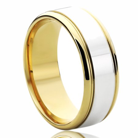 Men Women 14K Yellow Gold & White Gold Wedding Band 7mm Flat Top Classy Comfort Fit Ring 14k Gold Mens Wedding Band 7mm
