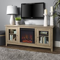 "Traditional Wood Fireplace TV Stand for TVs up to 60"" Driftwood"