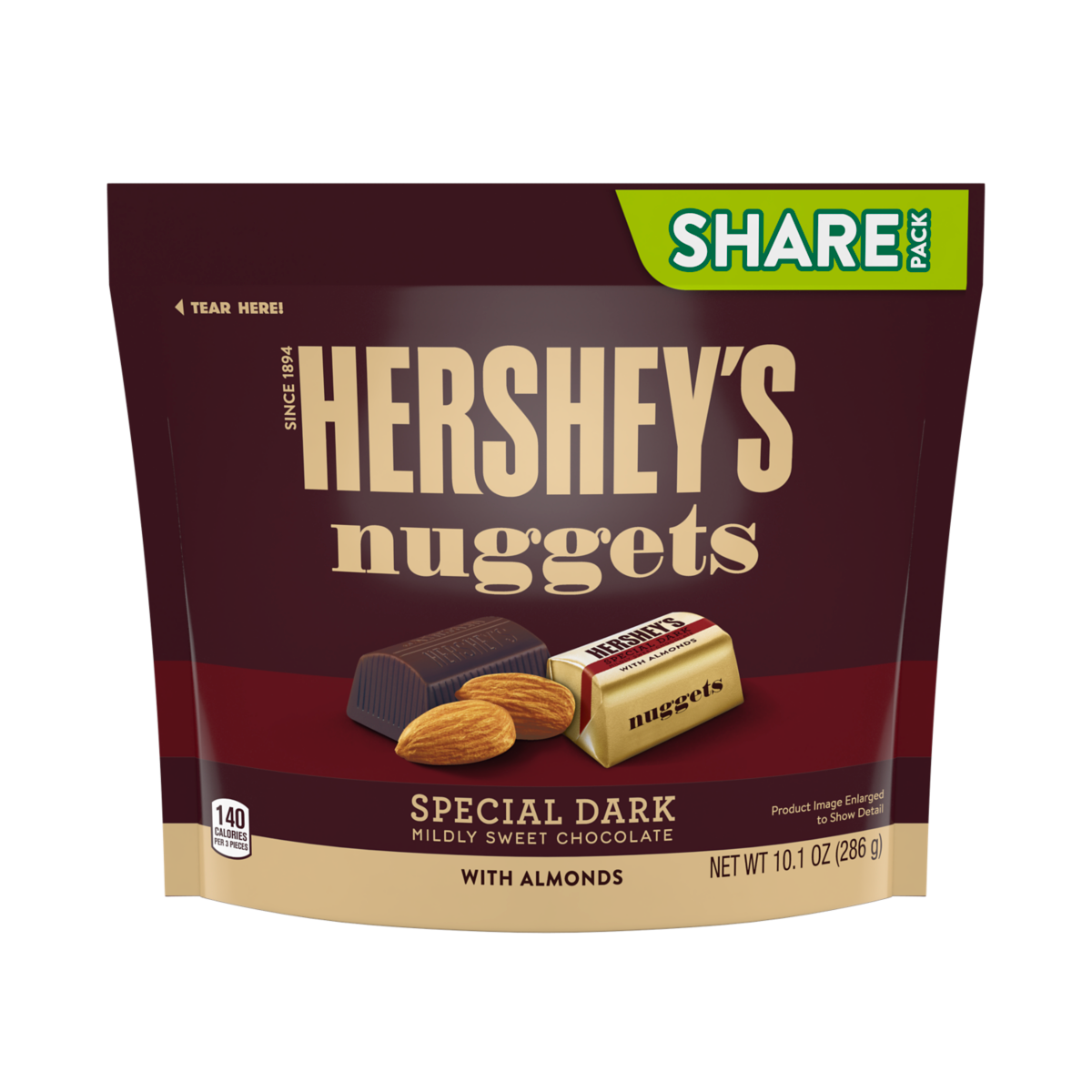 Hersheys Nuggets Dark Chocolate with Almonds Share Size - 10.1oz