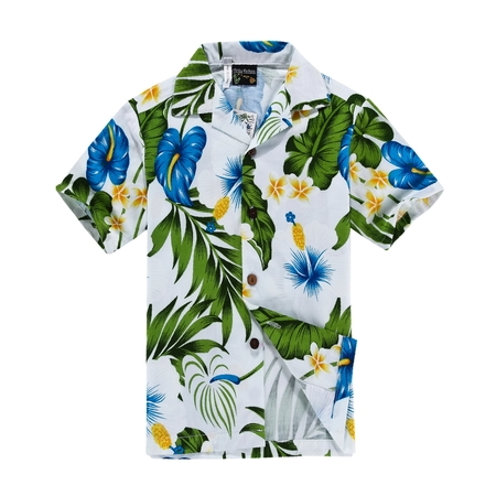 Aloha Shirt Island Decor - Hawaii Hangover Men's Hawaiian Shirt Aloha Shirt White with Blue Calla Lily M