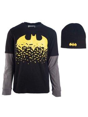 Batman Dissolving Logo Long Sleeve Twofer Tee with Matching Beanie (Little Boys & Big Boys)
