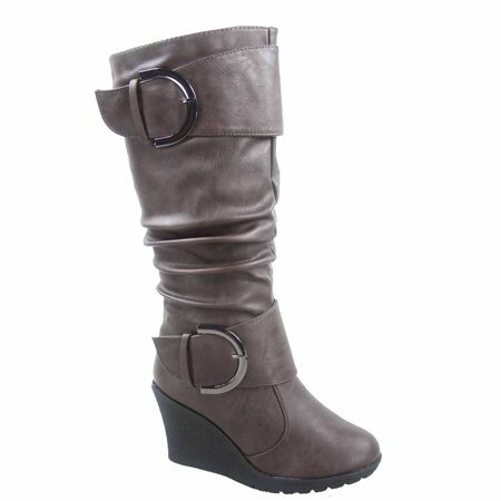 Pure-65 Women's Fashion Round Toe Slouch Large Buckle Wedge Mid Calf Boot Shoes
