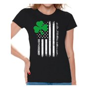 f036d15d Awkward Styles Irish American Shirt St. Patrick's Day T-Shirts for Women  Shamrock Green