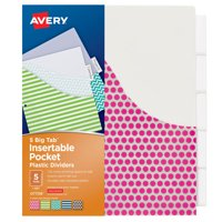 Avery Big Tab Insertable Dividers w/Pockets, 5-Tab, Assorted Designs (07708)