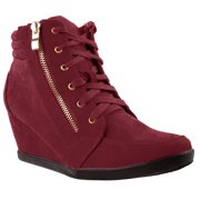 aba1ca8ddb Women High Top Wedge Heel Sneakers Platform Lace Up Shoes Ankle Bootie  (FREE SHIPPING)