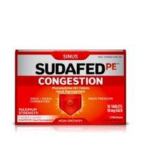 Sudafed PE Congestion & Sinus Pressure Relief, Maximum Strength, 18 ct