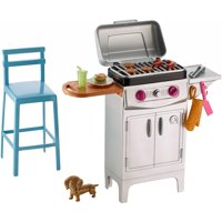 Barbie Furniture Set Barbecue Theme with Puppy, Grill, Stool & More
