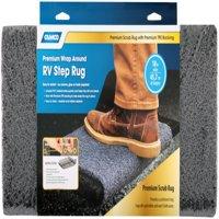 """Camco 42964 Premium Wrap Around RV Step Rug, Premium Scrub Rug / Premium Scrub Rug, PVC Material (17.5"""" x 18""""), Gray"""