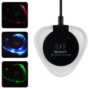 SOAIY QI Phone Wireless Charger Fast Charging Pad for Smartphone iPhone X/8 Samsung Galaxy S8 S8+ Note 8 Note5 S7 Edge S7 S6 Edge Plus and All Qi-Enabled Devices