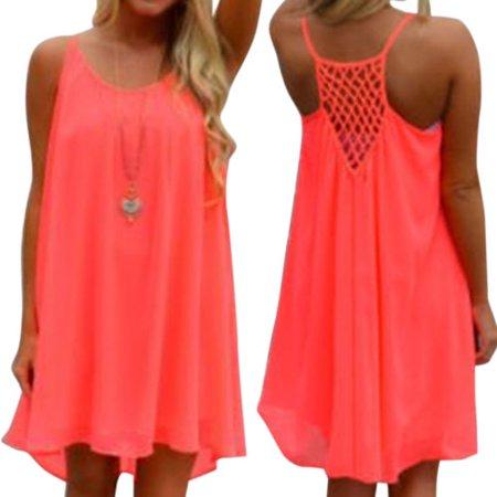 Women Sexy Chiffon Short Mini Dresses Loose Blouse Strappy Summer Beach Sundress Casual Plus Size