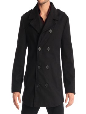 Jake Men's Double Breasted Pea Coat Wool Blend