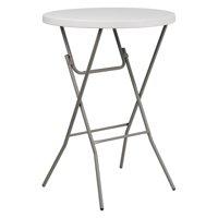 "Flash Furniture 32"" Round Granite White Plastic Bar Height Folding Table"